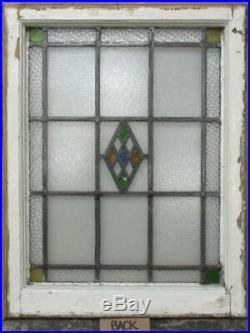 MIDSIZE OLD ENGLISH LEADED STAINED GLASS WINDOW Bordered Diamond 20.25 x 26.5