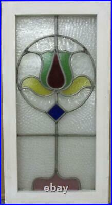 MIDSIZE OLD ENGLISH LEADED STAINED GLASS WINDOW Colorful Abstract 14.25 x 27.5