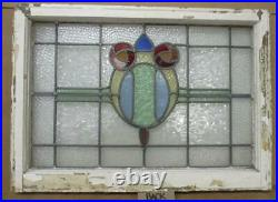 MIDSIZE OLD ENGLISH LEADED STAINED GLASS WINDOW Double Rose Design 29.5 x 21.5