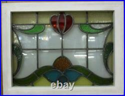 MIDSIZE OLD ENGLISH LEADED STAINED GLASS WINDOW. Lovely Floral 23.75 x 18.5