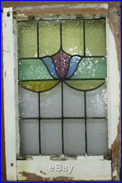MIDSIZE OLD ENGLISH LEADED STAINED GLASS WINDOW Pretty Floral 16.75 x 25
