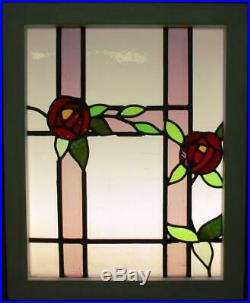 MIDSIZE OLD ENGLISH LEADED STAINED GLASS WINDOW Stunning Floral 19.5 x 24.25