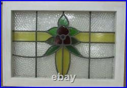 MIDSIZE OLD ENGLISH LEADED STAINED GLASS WINDOW Very Pretty Flower 23.5 x 16.5