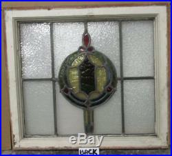 MID SIZED OLD ENGLISH LEADED STAINED GLASS WINDOW Beautiful Geo 23.75 x 21.5
