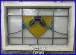MID SIZED OLD ENGLISH LEADED STAINED GLASS WINDOW Colorful Floral 23.25 x 16