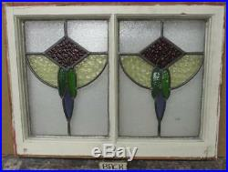 MID SIZED OLD ENGLISH LEADED STAINED GLASS WINDOW Double Abstract 25.75 x 19.5