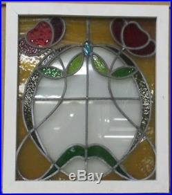 MID SIZED OLD ENGLISH LEADED STAINED GLASS WINDOW Great Floral 20.25 x 23.5