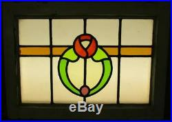 MID SIZED OLD ENGLISH LEADED STAINED GLASS WINDOW Nice Floral Band 24 x 17.25