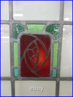 MID SIZE OLD ENGLISH LEADED STAINED GLASS WINDOW Hand Painted Floral 26 x 20.25