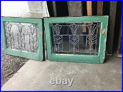 MK6 2 available price each antique leaded glass Tulip Window 19 x 24.5