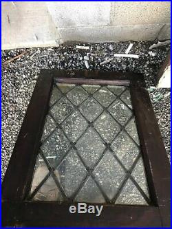 MK 12 pair Antique Diamond style leaded glass window 16.5 x 23