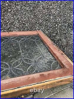 MK 34 Antique leaded glass transom window 34.5 x 23.25