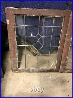 MK 94 three available price each antique leaded glass window 25 x 30.5