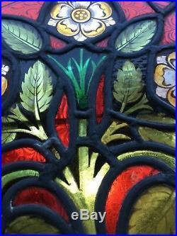 Manhattan Historic Victorian 1800's Century Tudor Stained Glass Window 31x 32