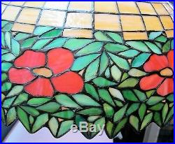 Massive 27 HANDEL or UNIQUE Stained Glass Ceiling Lamp c. 1915 leaded antique