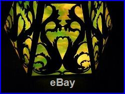 Mission arts crafts slag stained leaded glass lamp shade riviere handel tiffany