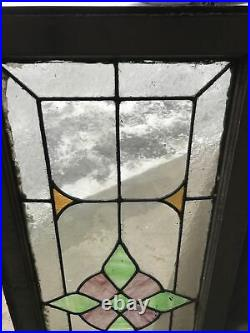 Mk105 Antique Stained And Leaded Glass Transom Window 18 X 44.5