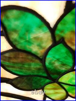Nice Antique Stained Glass Window With Grapes 23 By 40 Inches