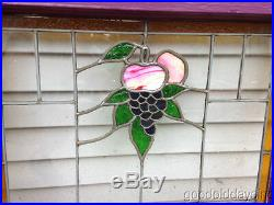 Nice Pair of Antique Grape & Fruit Stained Leaded Glass Windows 23 by 23
