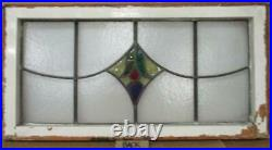 OLD ENGLISH LEADED STAINED GLASS TRANSOM WINDOW Bell/Drop Design 34' x 17.75