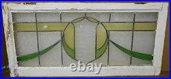 OLD ENGLISH LEADED STAINED GLASS TRANSOM WINDOW Shield Sweep design 37 x 17.75