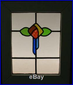 OLD ENGLISH LEADED STAINED GLASS WINDOW Colorful Floral Design 17 x 20.5