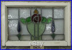 OLD ENGLISH LEADED STAINED GLASS WINDOW Colorful Floral Design 21.75 x 14