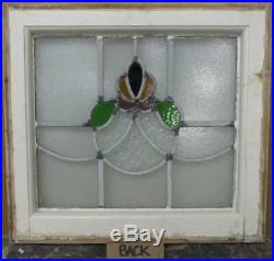 OLD ENGLISH LEADED STAINED GLASS WINDOW Cute Abstract Design 18.75 x 17.25