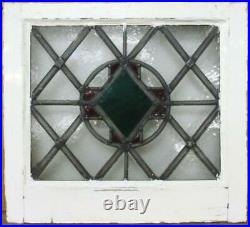 OLD ENGLISH LEADED STAINED GLASS WINDOW Lovely Diamond & Cross 19.75 x 18