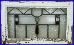 OLD ENGLISH LEADED STAINED GLASS WINDOW Lovely Textures & Jewel 24.5 x 15