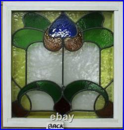 OLD ENGLISH LEADED STAINED GLASS WINDOW Lovely Very Pretty Design 19.5 x 20.5