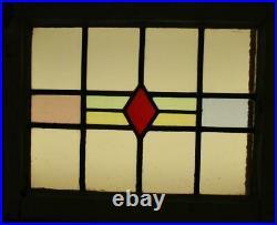 OLD ENGLISH LEADED STAINED GLASS WINDOW Pretty Geometric Stripe 21.5 x 17.25