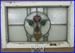 OLD ENGLISH LEADED STAINED GLASS WINDOW Pretty Rose & Heart 24 x 15.75