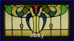 OLD ENGLISH LEADED STAINED GLASS WINDOW TRANSOM Colorful Tulip 30.25 x 16.5