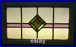 OLD ENGLISH LEADED STAINED GLASS WINDOW TRANSOM Diamond Design 28 x 16.75