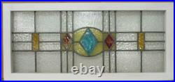 OLD ENGLISH LEADED STAINED GLASS WINDOW TRANSOM Diamond Design 37.75 x 17.5