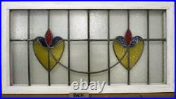 OLD ENGLISH LEADED STAINED GLASS WINDOW TRANSOM Floral Sweep 36.75 x 19.5