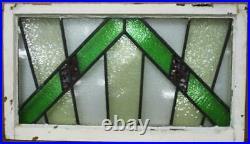 OLD ENGLISH LEADED STAINED GLASS WINDOW TRANSOM Geometric Burst 32.75 x 18.75
