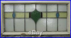 OLD ENGLISH LEADED STAINED GLASS WINDOW TRANSOM Gorgeous Band Design 34.5 x 17