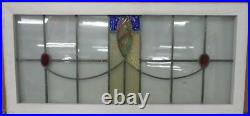 OLD ENGLISH LEADED STAINED GLASS WINDOW TRANSOM Gorgeous Sweep 38.25 x 18