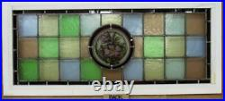 OLD ENGLISH LEADED STAINED GLASS WINDOW TRANSOM Hand Painted 36.75 x 16.25