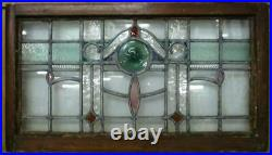 OLD ENGLISH LEADED STAINED GLASS WINDOW TRANSOM Lovely Bullseye 31.5 x 17.75