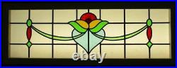 OLD ENGLISH LEADED STAINED GLASS WINDOW TRANSOM Lovely Floral Swag 44.5 x 16