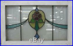 OLD ENGLISH LEADED STAINED GLASS WINDOW TRANSOM Nice Floral Sweep 27.75 x 17.5