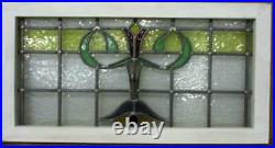 OLD ENGLISH LEADED STAINED GLASS WINDOW TRANSOM Pretty Floral 30.75 x 16.25