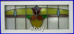 OLD ENGLISH LEADED STAINED GLASS WINDOW TRANSOM Pretty Floral 34.25 x 15.5