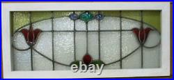 OLD ENGLISH LEADED STAINED GLASS WINDOW TRANSOM Pretty Floral 35.75 x 16.25