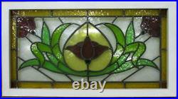 OLD ENGLISH LEADED STAINED GLASS WINDOW TRANSOM Pretty Floral Design 34.5 x 19