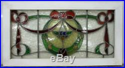 OLD ENGLISH LEADED STAINED GLASS WINDOW TRANSOM Stunning Wreath/Bow 37 x 19.75