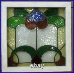 OLD ENGLISH LEADED STAINED GLASS WINDOW Very Colorful Floral Design 19.75 20